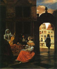 Pieter de Hooch A Musical Company in a Courtyard 1677 83.5 x 68.5 cm oil on canvas P.d Hoogh.1677 National Gallery, London