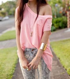 gold cuff pink oversized shirt