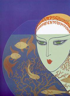 Fish Bowl by Erte. Art Deco. genre painting