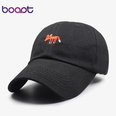 fox animal embroidery dad hat women baseball cap napback casual cotton men  hat 7b477bf9822