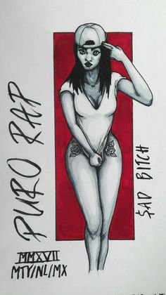 #drawing #art #marker #copic #girl #tattoo #rose #red #rap #snapback