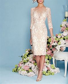 Mermaid Chiffon Lace Formal Mother Of The Bride Dress With Jacket Knee Length Mother Of Bride Outfits, Mother Of Groom Dresses, Mothers Dresses, Mother Of The Bride, Mob Dresses, Tea Length Dresses, Dresses With Sleeves, Bride Dresses, Wrap Dresses