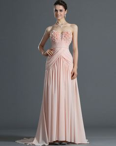 osell wholesale dropship Chiffon Pleated Beading Flowers Sweetheart Sleeveless Court Train A Line Evening Prom Dresses $91.43