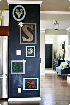 DIY chalkboard gallery wall.  I quite like this idea.  I couldn't have this in the apartment.  Could find/make a large frame with the inside as a chalkboard.  Same thing:  small frames (permanent) and the rest change for different occasions or seasons.  Sounds good to me!