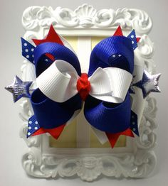 Red/ White/ Blue 4th of July Bow by SamanthasBowz on Etsy