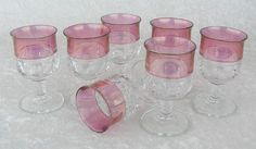 Vintage Tiffin King's Crown Cranberry Flashed Top Water Glasses