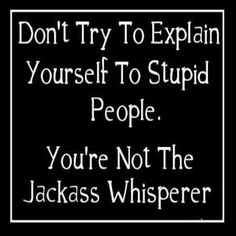 Don't try to explain yourself to stupid people ... You are not the Jackass whisperer