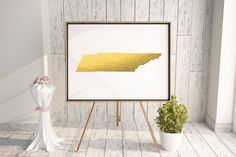 Tennessee Map State Gold Foil Painting Poster by TypoStoreDesign