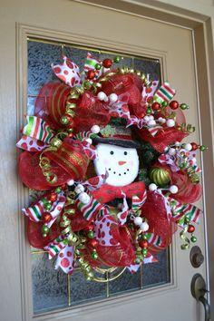 mesh snowman wreath | Whimsical Snowman Mesh Wreath by kristenscreations on Etsy