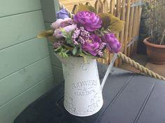 Elegant and stylish hand painted zinc metal flower vase vintage style shabby chic blush pink/ white washed effect by DottyCottage1 on Etsy