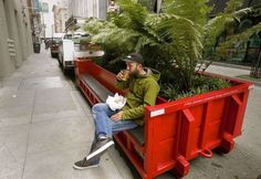 Parklet made from a re-cycled trash bin