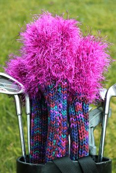 Knitting Patterns Gifts Here& what my mom got for Mother& Day this year Golf Club Head Covers! Not new golf club. Golf Club Crafts, Golf Ball Crafts, Knitting Projects, Knitting Patterns, Knitting Ideas, Crochet Patterns, Crochet Ideas, Golf Headcovers, New Golf Clubs