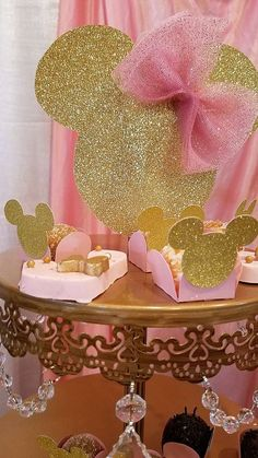 Pink and Gold Minnie Mouse Celebration  Birthday Party Ideas | Photo 7 of 12
