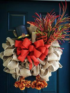 Burlap Turkey Thanksgiving Wreath by tiffanynewcomb on Etsy, $68.00