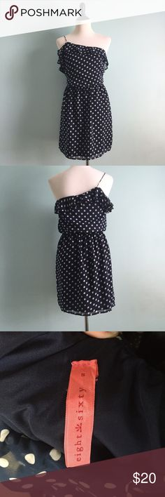 Navy Polka-Dotted Dress Navy one-shouldered dress with white polka dots. Cute ruffle on top on bodice. Please note there is one run near the top of the dress shown in the last picture. Size small. Eight Sixty Dresses One Shoulder