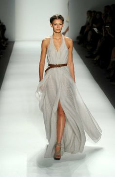 Billowy gauzy fabric, barely there colour, brown leather belt