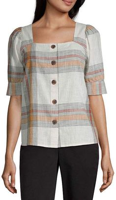 Worthington Button Front Tie Sleeve Top - Plus - JCPenney Blouse Styles, Blouse Designs, Casual Tops, Casual Shirts, Formal Pants Women, Hijab Fashionista, Western Tops, Work Tops, Short Sleeve Blouse