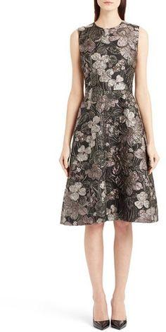 Dolce&Gabbana Metallic Floral Jacquard A-Line Dress