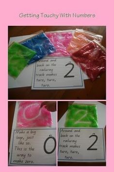 Put some glitter paint into zip lock bags to practice writing numbers or letters. When teaching numbers I find children respond really well if they are able to touch and feel
