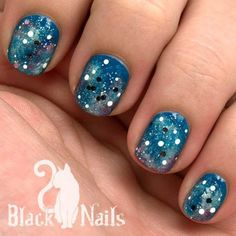 """Blue glitter galaxy nails for the fifth day """"Nature"""" in the CaliforNails November nail art challenge. I think I have figured out the secret to a dimensional galaxy nail, FINALLY! Glitter Nail Art, Blue Glitter, Glitter Kunst, Photomontage, Cheap Makeup Online, Galaxy Nail Art, November Nails, Nagel Blog, Cat Nails"""