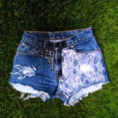 Vintage High Waisted Denim Jean LACE Panel Shorts by MissDomineek, $49.00