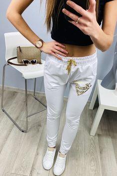 Dámske tepláky super biele White Jeans, Pants, Fashion, Trouser Pants, Moda, Fashion Styles, Women's Pants, Women Pants, Fashion Illustrations
