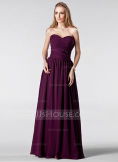 A-Line/Princess Sweetheart Floor-Length Chiffon Bridesmaid Dress With Ruffle Flower(s) (007005180) - JJsHouse