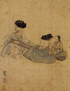 Korean Traditional art by Shin Yun-bok Korean Traditional, Traditional Art, Korean Painting, Old Paintings, Indian Paintings, T Art, China Painting, Traditional Paintings, Korean Artist