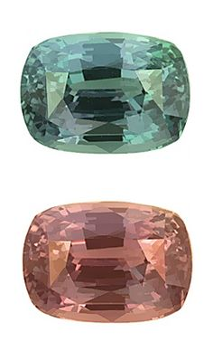 Indian alexandrite, Fig. 27.: Faceted alexandrite (2.71 cts) with distinctive color change (bluish green to medium red-purple) from Araku, India.