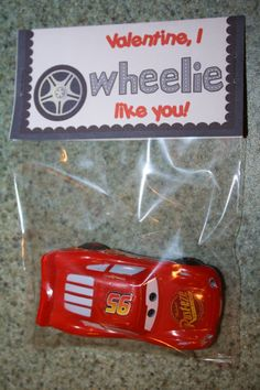 "Valentine, I Wheelie Like You! Treat Bag Topper 4x4"" Instant Download ~ U Print $2.00"