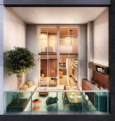 Aptos duplex sempre tem salas e varandas confortáveis! O Summit Pinheiros fez melhor, usando o mesmo vão da varanda para benefício tanto da sala quanto da suíte. Veja como ficou show!