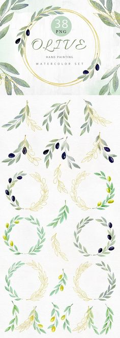 Super Ideas for olive tree wallpaper leaves Watercolor Clipart, Watercolor Tattoo Tree, Gold Watercolor, Watercolor Trees, Art Clipart, Watercolor Wedding, Diy Wedding Invitations Templates, Botanical Wedding Invitations, Gold Invitations