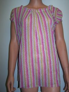 Cosabella NWT Size Med Sheer Cap Sleeve Blouse Top Multi Color Italy #Cosabella #KnitTop #Casual