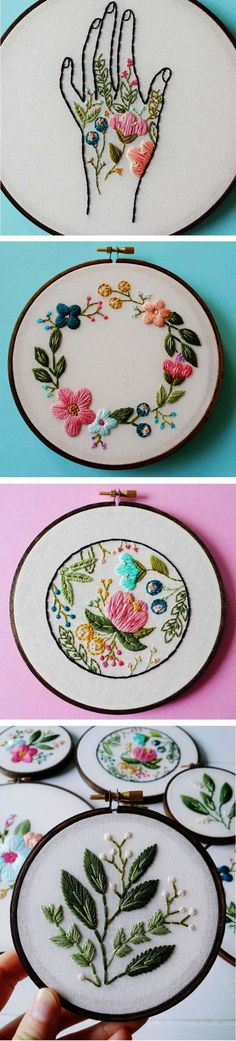6 Pieces Cotton Fabric Embroidery Fabric Cloth for DIY Handmade Embroidery and Art Crafts Gifts Decoration 9.8 by 9.8 inch