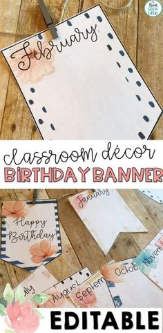 Birthday Banner Floral Watercolor Birthday Banner Floral Watercolor Myll nne Dubois Myll nne Dubois Looking for a calming watercolor themed birthday banner set this vintage shabby chic style birthday display banner hellip Birthday Display In Classroom, Birthday Bulletin Boards, High School Classroom, Classroom Displays, Toddler Classroom, Birthday Display Board, Birthday Calendar Classroom, Classroom Design, Classroom Decor