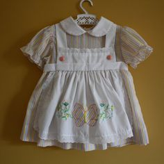 Vintage pastel pinstripe apron dress, 1960's  - 1970's.