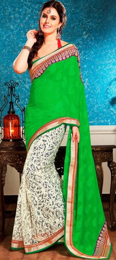 Classic Green and Off White Brasso with Chiffon Party Wear Saree - IG9060 USD $ 91.42