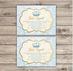 Book Request Royal Prince Baby Shower Inserts Navy by cardmint