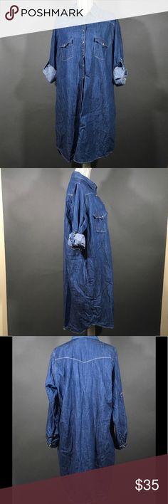 "Violeta by Mango Long Sleeve Blue Denim Dress Size- XXL  Measurements: Shoulder to shoulder- 16.5"" Armpit to armpit- 49"" Shoulder to hem- 40"" Mango Dresses Long Sleeve"