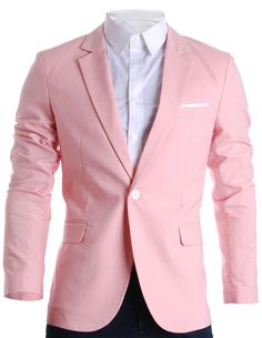 FLATSEVEN Mens Slim Fit Cotton Stylish Casual Blazer Jacket Pink, M (Chest 40)