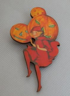 Halloween Pumpkin Pixie Brooch or Scarf Pin Wood Accessories Fashion NEW…