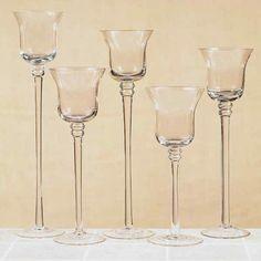 Long Stem Floating Candle Holders | Set 5 Flared Stemmed Clear Glass Votive Candle Holder