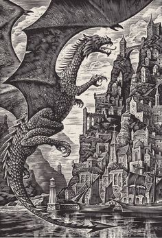 Andrew Timothy Davidson born 13 May 1958 is a British artist His book illustrations include two novels by Ted Hughes The Iron Man 1985 edition orig 196 Harry Potter Art, Fantasy Art, Linocut, Dragon Artwork, Ancient Drawings, Artwork, Dark Art, Dragon Art, Woodcut