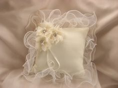 Items similar to Wedding Ring Pillow Ring Bearer Pillow Ivory Organza Ruffles and Tulle Flowers on Etsy Wedding Ring Cushion, Wedding Pillows, Cushion Ring, Ring Bearer Pillows, Ring Pillows, Bridal Brooch Bouquet, Lace Ring, Flower Pillow, Dress Rings