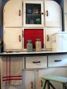 """Old and tattered Hoosier Cabinet-just another version of the """"hoosier"""""""