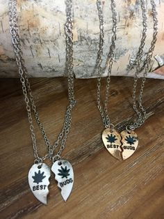 Best Bud Heart Necklace, Cannabis Necklace, Weed Necklace, Pot Jewelry, Marijuana Necklace, 420 Jewelry, Friendship Jewelry by TokeHippieCouture on Etsy