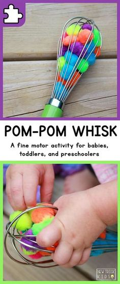 A simple fine motor activity for babies, toddlers, and preschoolers using colore. A simple fine motor activity for babies, toddlers, and preschoolers using colored pom-poms by marissa Toddler Play, Baby Play, Toddler Preschool, Toddler Teacher, Toddler Daycare Rooms, Toddler Busy Bags, Toddler Games, Toddler Sleep, Infant Toddler