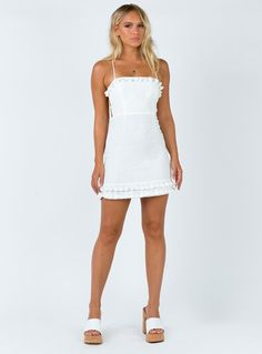 Fiorella Mini Dress – Princess Polly USA The Effective Pictures We Offer You About graduation party Graduation Party Outfits, Graduation Dress College, Bachelorette Outfits, White Short Dress Graduation, Graduation Ideas, Graduation Pictures, Cute White Dress, White Dress Summer, Little White Dresses