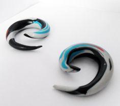 Funky Modern Swirl Polymer Clay Gauge Stretcher by AeysheaJones, £11.20