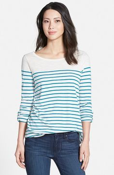 Caslon®+Roll+Sleeve+Stripe+Top+(Regular+&+Petite)+available+at+#Nordstrom